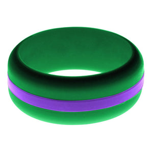 Mens Green Silicone Ring with Purple Changeable Color Band