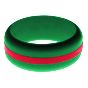 Mens Green Silicone Ring with Red Changeable Color Band