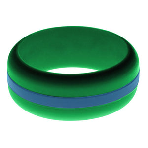 Mens Green Silicone Ring with Steel Blue Changeable Color Band