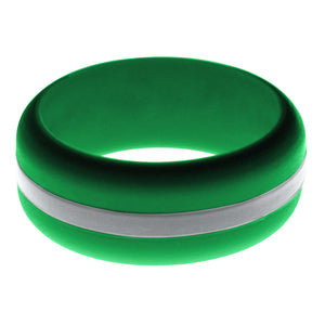 Mens Green Silicone Ring with Silver Changeable Color Band