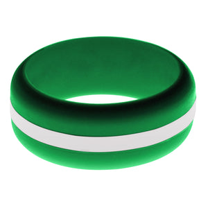 Mens Green Silicone Ring with White Changeable Color Band