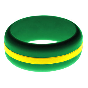 Mens Green Silicone Ring with Yellow Changeable Color Band