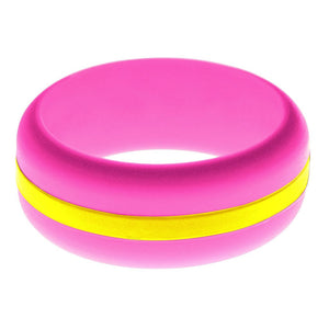 Mens Hot Pink Silicone Ring with Yellow Changeable Color Band