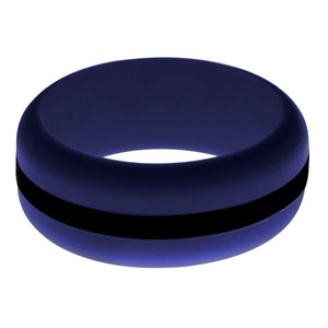 Mens Navy Blue Silicone Ring With Black Changeable Color Band