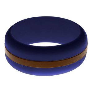Mens Navy Blue Silicone Ring With Brown Changeable Color Band
