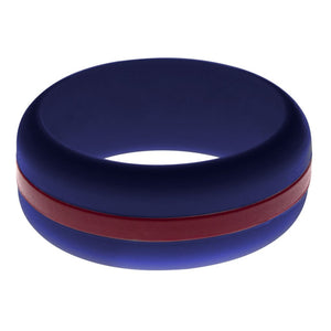 Mens Navy Blue Silicone Ring With Cardinal Red Changeable Color Band