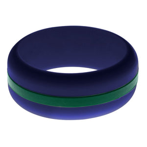 Mens Navy Blue Silicone Ring With Dark Green Changeable Color Band