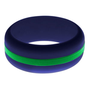 Mens Navy Blue Silicone Ring With Green Changeable Color Band