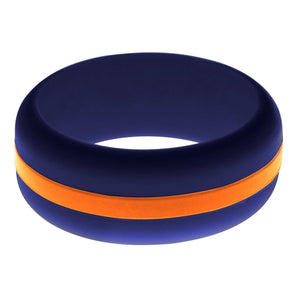 Mens Navy Blue Silicone Ring With Orange Changeable Color Band