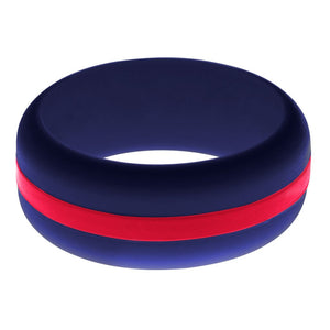Mens Navy Blue Silicone Ring With Red Changeable Color Band