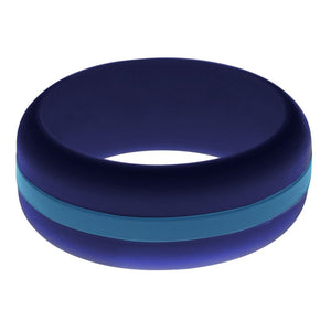 Mens Navy Blue Silicone Ring With Steel Blue Changeable Color Band