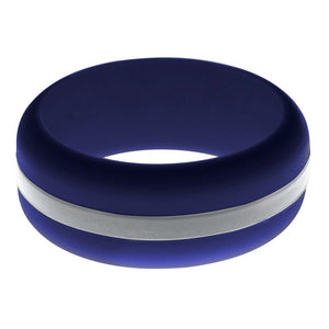 Mens Navy Blue Silicone Ring With Silver Changeable Color Band