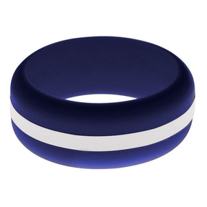 Mens Navy Blue Silicone Ring With White Changeable Color Band