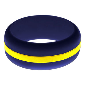 Mens Navy Blue Silicone Ring With Yellow Changeable Color Band