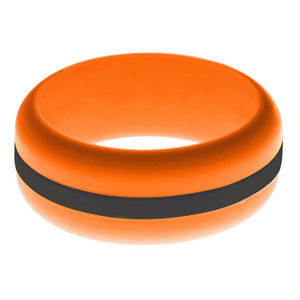 Mens Orange Silicone Ring with Black Changeable Color Band