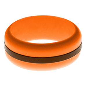 Mens Orange Silicone Ring with Brown Changeable Color Band