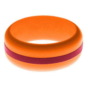 Mens Orange Silicone Ring with Cardinal Red Changeable Color Band