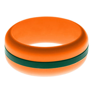 Mens Orange Silicone Ring with Dark Green Changeable Color Band