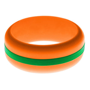 Mens Orange Silicone Ring with Green Changeable Color Band