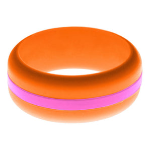 Mens Orange Silicone Ring with Hot Pink Changeable Color Band