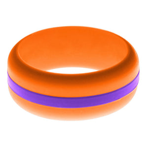 Mens Orange Silicone Ring with Purple Changeable Color Band