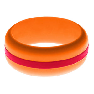 Mens Orange Silicone Ring with Red Changeable Color Band