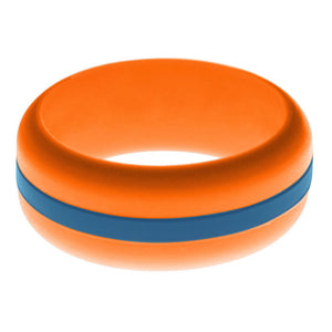 Mens Orange Silicone Ring with Steel Blue Changeable Color Band