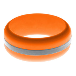 Mens Orange Silicone Ring with Silver Changeable Color Band