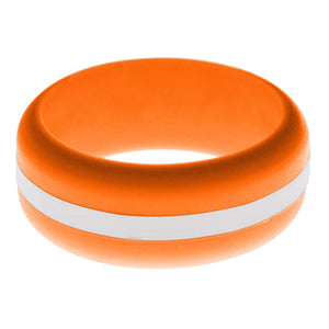 Mens Orange Silicone Ring with White Changeable Color Band