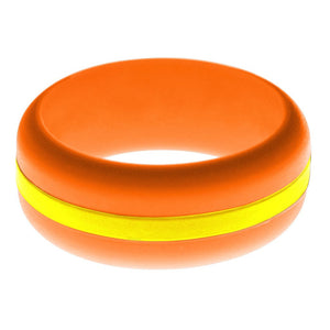 Mens Orange Silicone Ring with Yellow Changeable Color Band