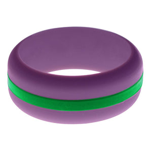 Mens Purple Silicone Ring with Green Changeable Color Band