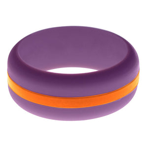 Mens Purple Silicone Ring with Orange Changeable Color Band