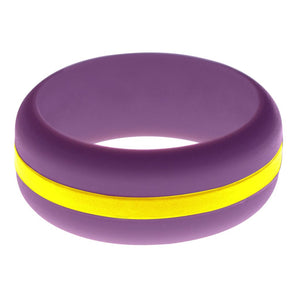 Mens Purple Silicone Ring with Yellow Changeable Color Band