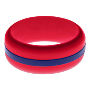 Mens Red Silicone Ring with Blue Changeable Color Band