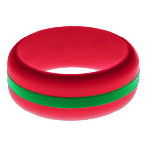 Mens Red Silicone Ring with Green Changeable Color Band