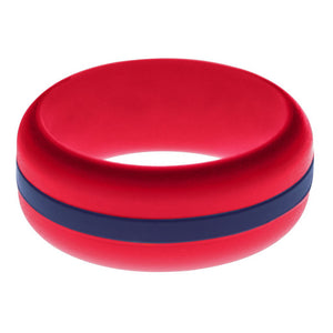 Mens Red Silicone Ring with Navy Blue Changeable Color Band