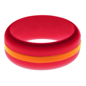 Mens Red Silicone Ring with Orange Changeable Color Band