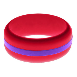 Mens Red Silicone Ring with Purple Changeable Color Band