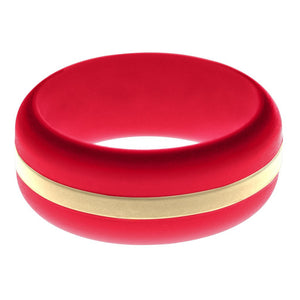 Mens Red Silicone Ring with Sand Changeable Color Band