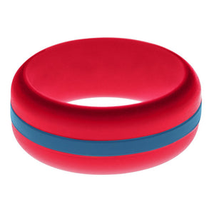 Mens Red Silicone Ring with Steel Blue Changeable Color Band