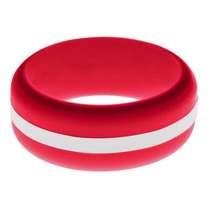 Mens Red Silicone Ring with White Changeable Color Band