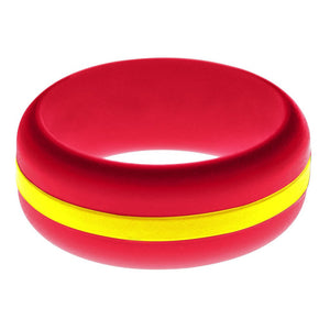 Mens Red Silicone Ring with Yellow Changeable Color Band