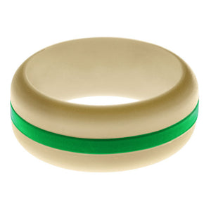 Mens Sand Silicone Ring with Green Changeable Color Band