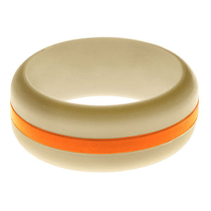 Mens Sand Silicone Ring with Orange Changeable Color Band