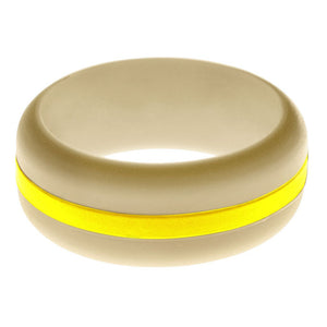 Mens Sand Silicone Ring with Yellow Changeable Color Band
