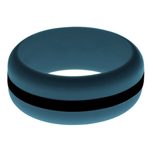 Mens Steel Blue Silicone Ring with Black Changeable Color Band
