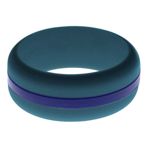 Mens Steel Blue Silicone Ring with Blue Changeable Color Band