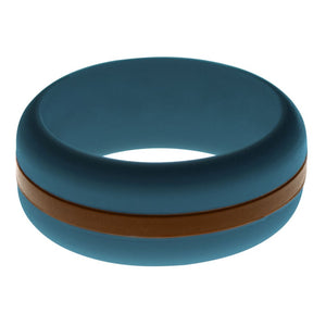 Mens Steel Blue Silicone Ring with Brown Changeable Color Band