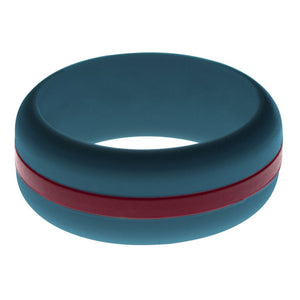 Mens Steel Blue Silicone Ring with Cardinal Red Changeable Color Band