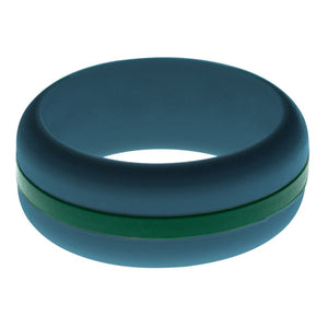 Mens Steel Blue Silicone Ring with Dark Green Changeable Color Band